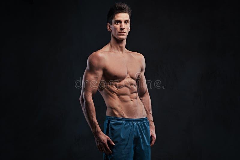 Hemdloser muskulöser Mann über dunklem Hintergrund stockbild