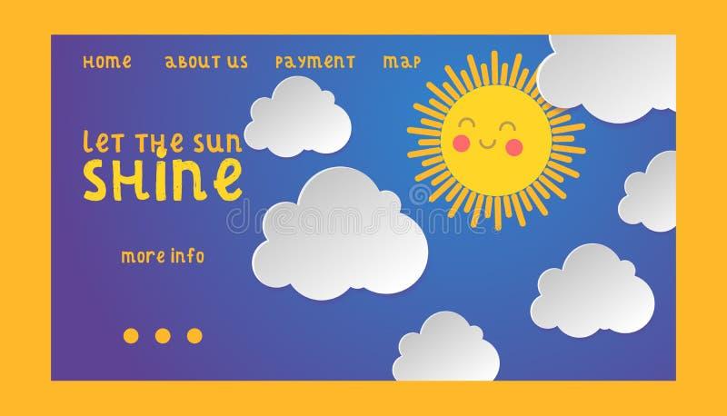 Hemel betrekken de vector bewolkte zonnige het landen webpaginaachtergrond en de blauwe horizonhemel het weerillustratie van de b royalty-vrije illustratie