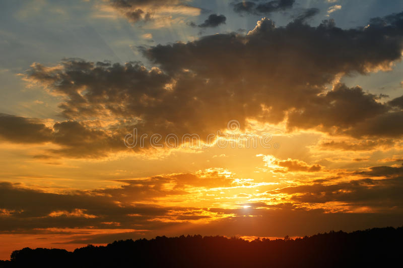 Hemel bij zonsondergang stock foto