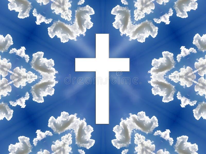 Hemel - Blauwe Hemel, Wolken, Kruis vector illustratie