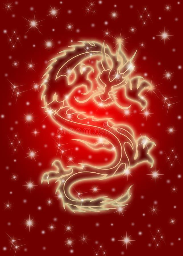 Hemel Chinese Draak op Rode Achtergrond royalty-vrije illustratie