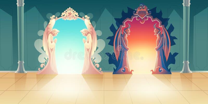 Hemel en hel het vectorconcept van het ingangenbeeldverhaal stock illustratie