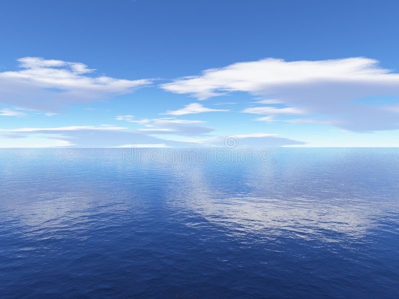 Hemel en oceaan vector illustratie