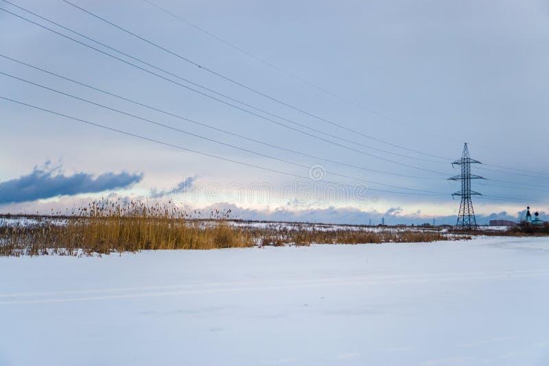 Hemel en overlapping in de winter stock foto's