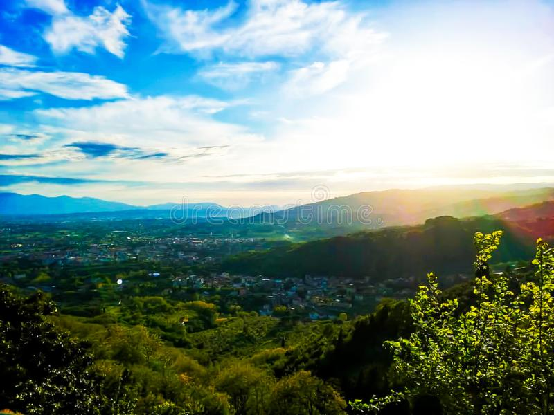Hemel en panorama van Valdinievole royalty-vrije stock fotografie