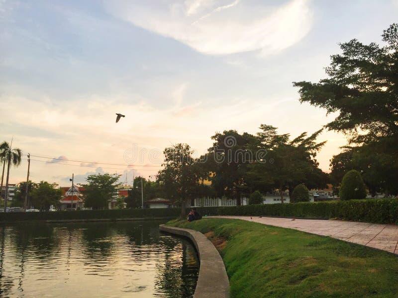 Hemel en rivier waar een vogel hebben royalty-vrije stock afbeeldingen