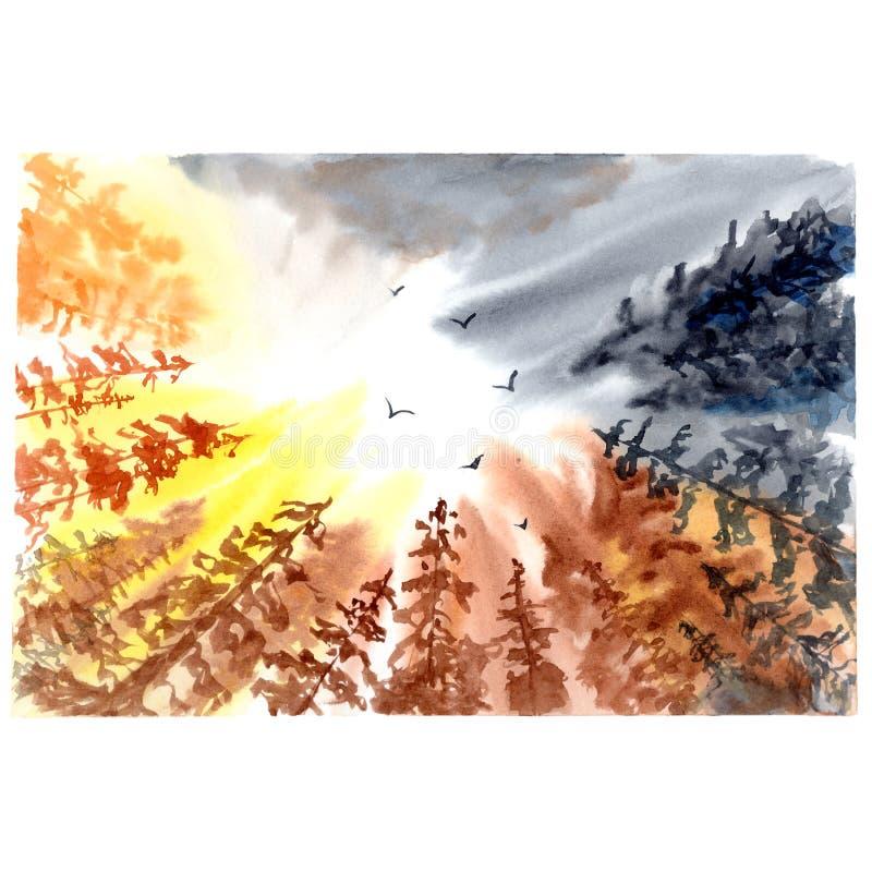 Hemel met boomsilhouet Kleurrijke waterverfillustratie royalty-vrije stock foto's