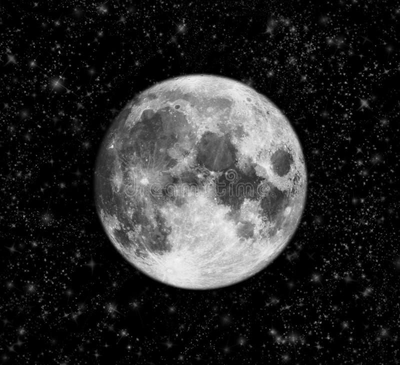 Hemel met volle maan en sterren stock afbeelding