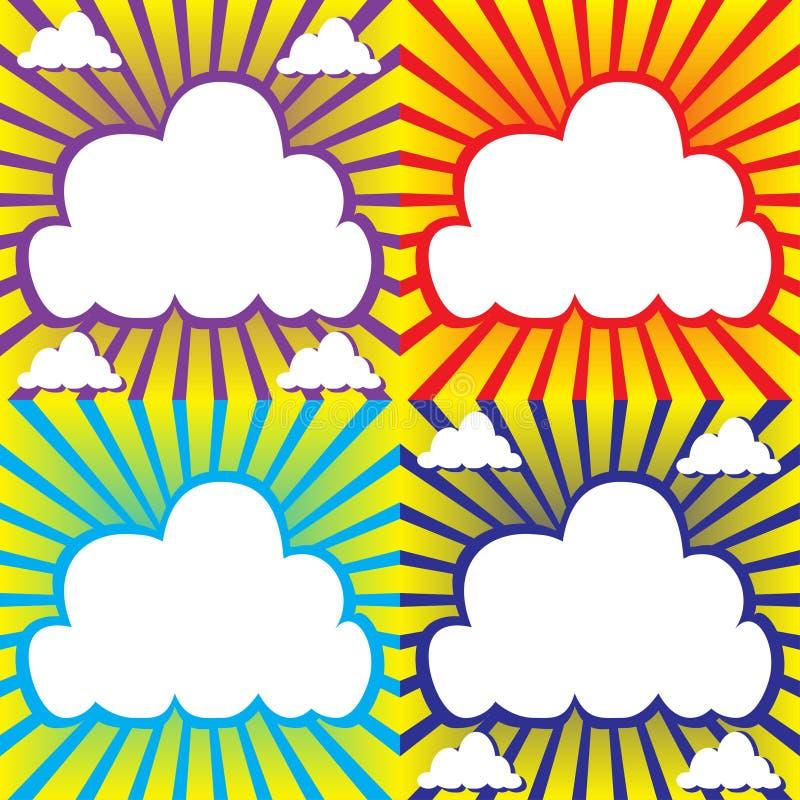 Hemel met wolken en zonnestraal vector illustratie