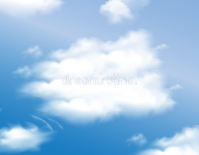 Hemel met wolkenachtergrond, Vectorontwerp stock afbeelding