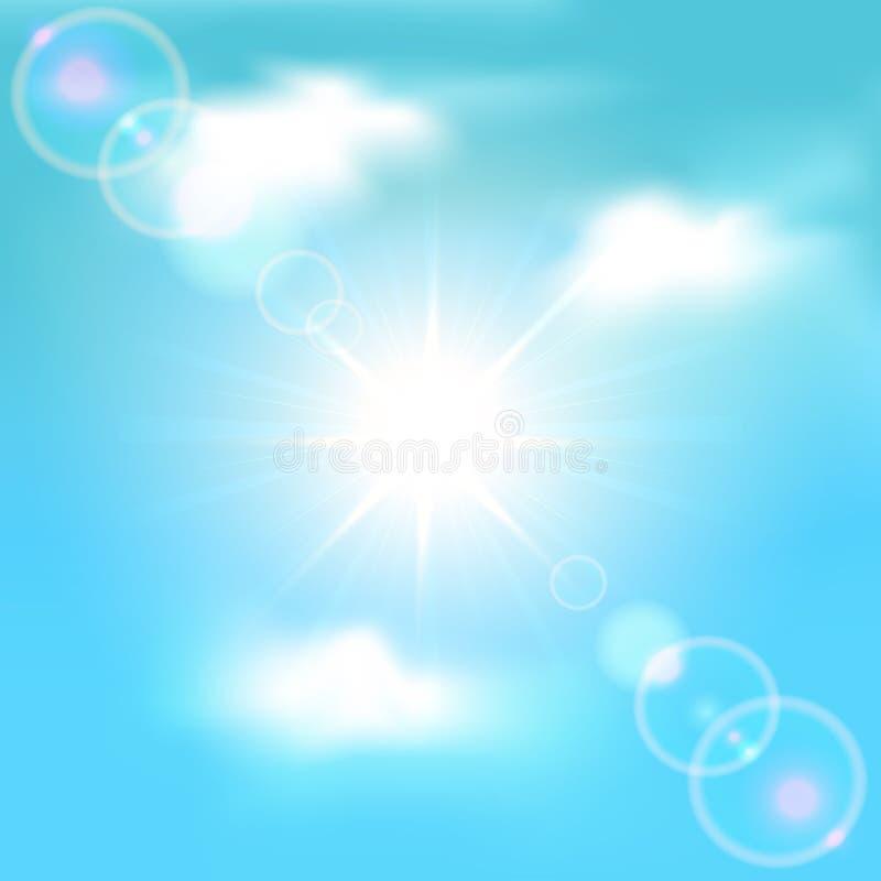 Hemel met zon en wolken vector illustratie