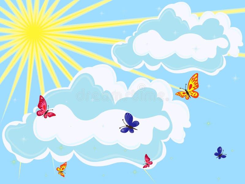 Download Hemel Met Zon, Wolken En Vlinders Vector Illustratie - Illustratie bestaande uit hemel, stralen: 39107336