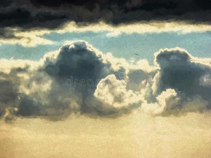 Hemel met zwarte wolken - Verfeffect royalty-vrije illustratie