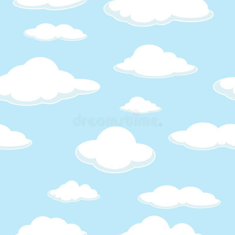 Hemel naadloze achtergrond De naadloze achtergrond van de wolk Goede dag ontruim Blauwe Wolken vector illustratie