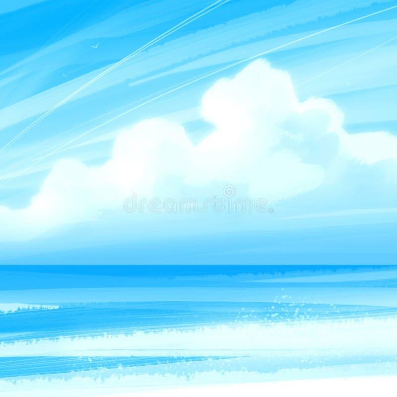 Hemel, overzees en wolk stock illustratie