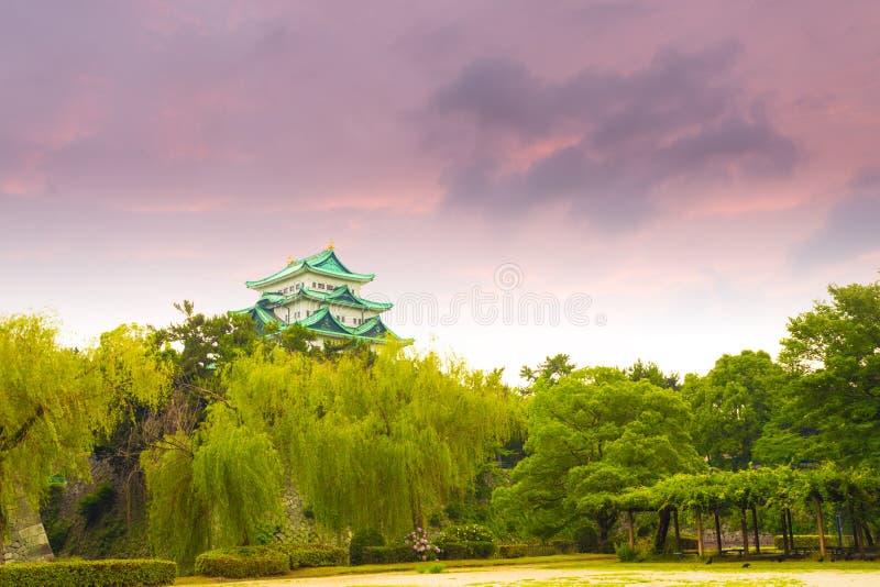 Hemel van de het Kasteel de Humeurige Zonsondergang van Nagoya boven Bomen H stock fotografie