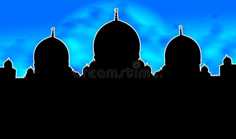 Hemel van de Nacht van de Illustratie van het Silhouet van de moskee de Blauwe vector illustratie