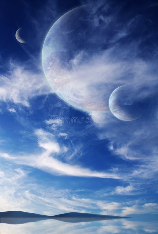 Hemel in vreemde planeet royalty-vrije stock foto's