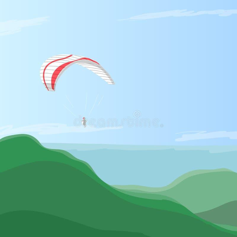 Hemelduiker die op een glijscherm in de hemel over groene heuvels vliegen, de vectorillustratie van eps10 vector illustratie