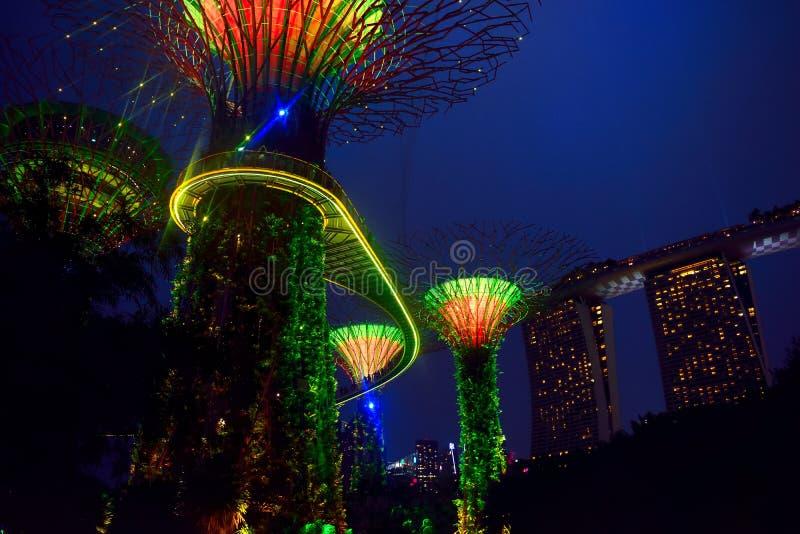 Hemelgang bij nacht in Singapore stock fotografie