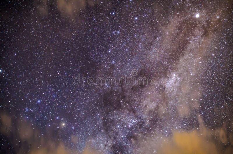 Hemelhoogtepunt van Sterren en Melkwegmelkweg royalty-vrije stock afbeelding