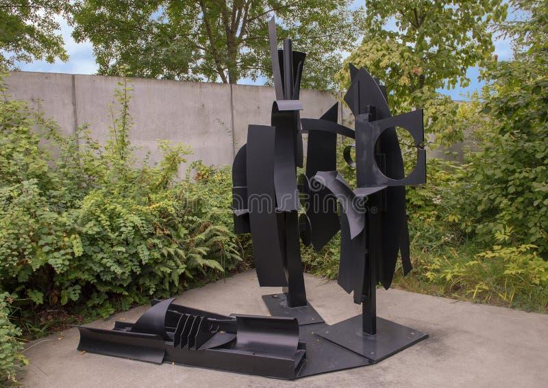 ` Hemellandschap ` door Louis Nevelson, Olympisch Beeldhouwwerkpark, Seattle, Washington, Verenigde Staten stock foto