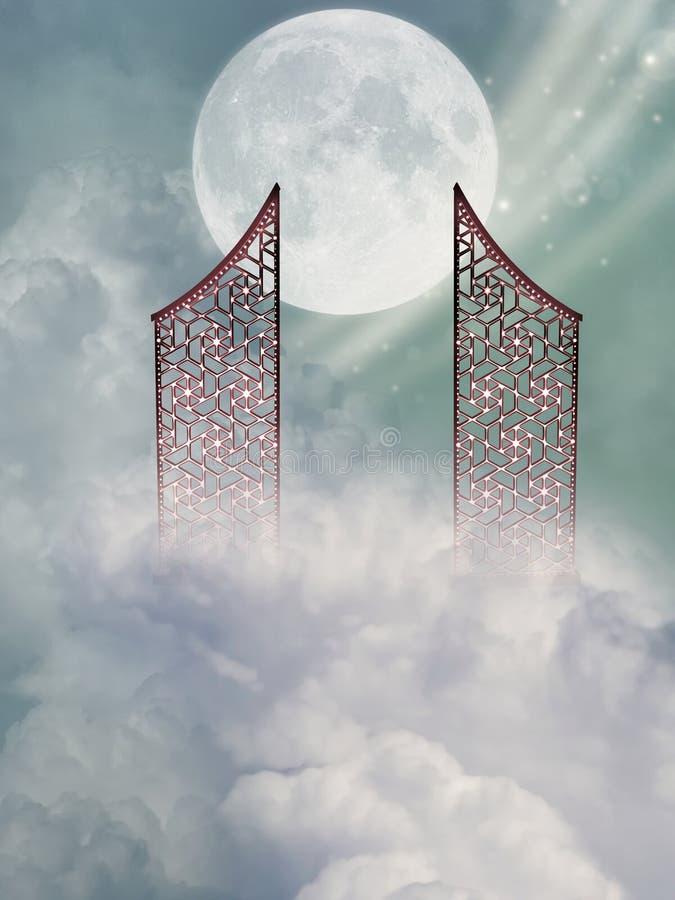 Hemelportaal met grote maan royalty-vrije illustratie