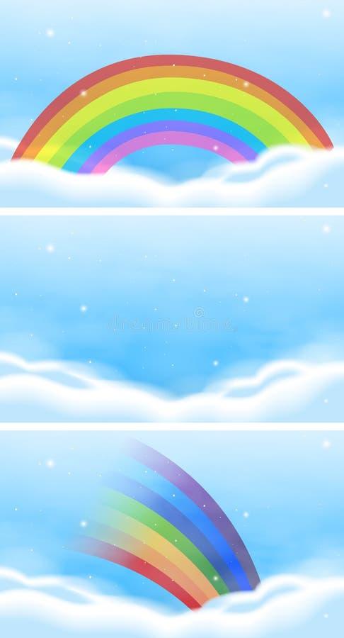 Hemelscène met mooie regenboog royalty-vrije illustratie