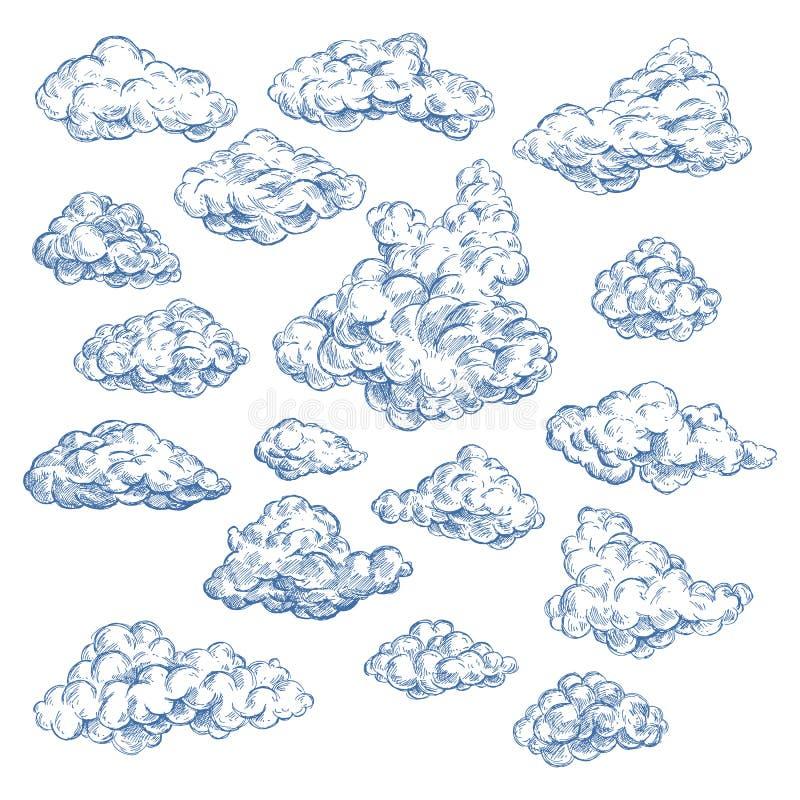 Hemelschets met witte wolken Atmosfeer, hemel stock illustratie