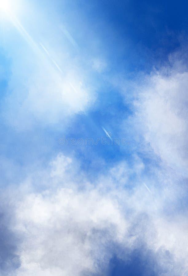 Hemelse Wolken en lichtenachtergrond royalty-vrije stock afbeelding