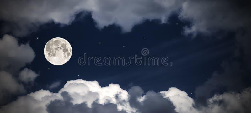 Hemelwolken en maan met de sterren, fabelachtige collage royalty-vrije stock foto's