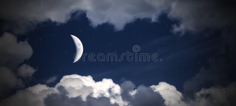 Hemelwolken en maan met de sterren, fabelachtige collage stock afbeelding