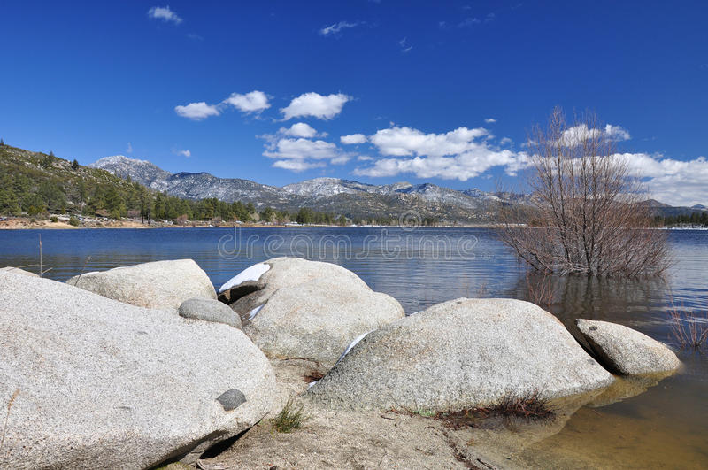Hemet Lake. Rocks and boulders are found all along the shoreline of Hemet Lake in Southern California royalty free stock photos