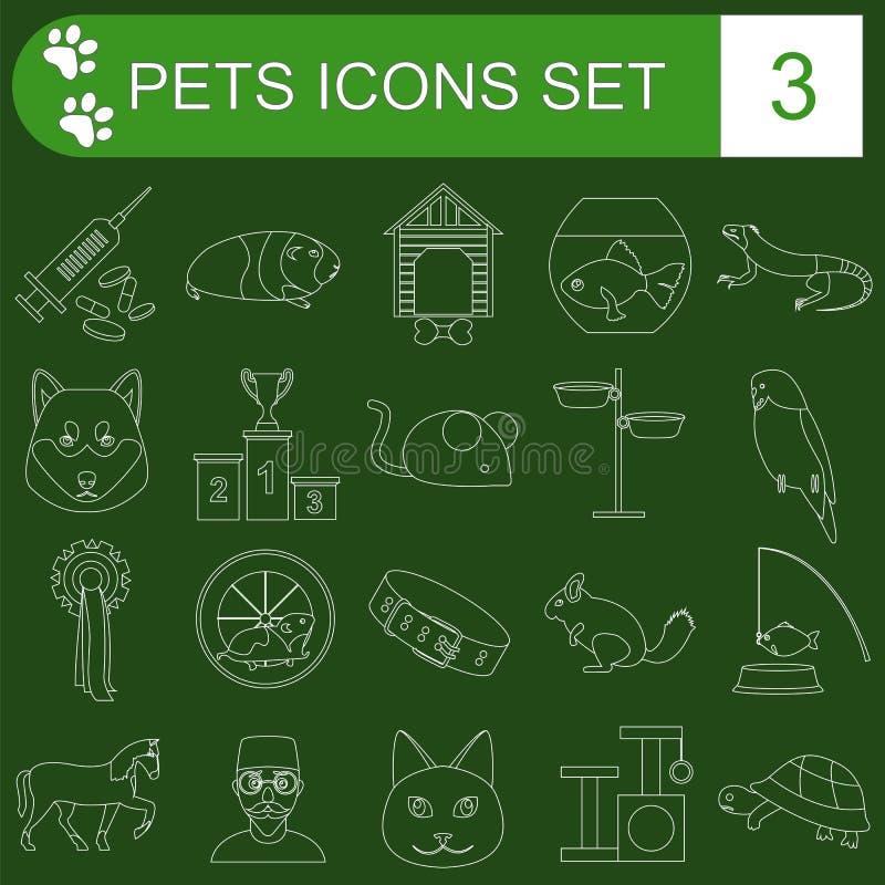 Hemhjälphusdjur och symboler för veterinärsjukvårdlägenhet ställde in vektor illustrationer