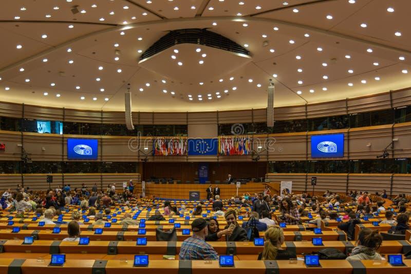 Hemiciclo do Parlamento Europeu em Bruxelas foto de stock