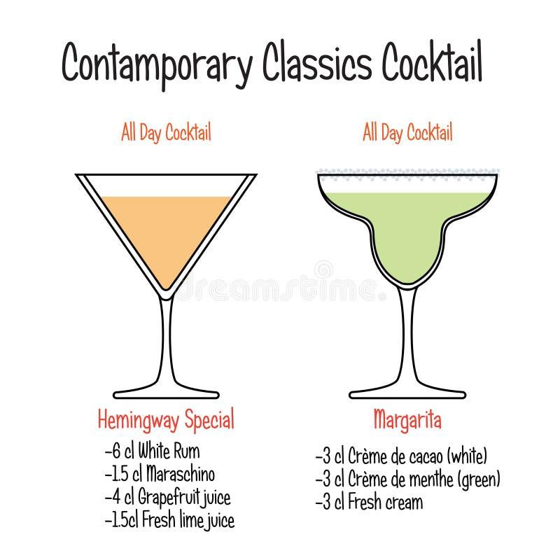 Hemingway cocktail and margarita cocktail recipe. Set of hand drawn alcoholic drinks, Hemingway cocktail and margarita cocktail recipe. Bartender guide concept vector illustration