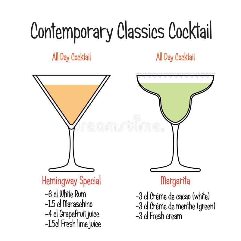 Hemingway cocktail and margarita cocktail recipe. Set of hand drawn alcoholic drinks, Hemingway cocktail and margarita cocktail recipe. Bartender guide concept royalty free illustration
