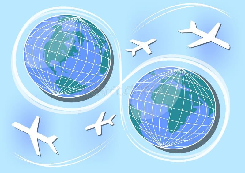 Hemisfério ocidental e oriental, trajetos do ar e conexões no mundo Projeto para uma agência de viagens, dia internacional do car ilustração royalty free
