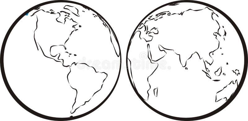Hemisfério oriental & ocidental ilustração do vetor