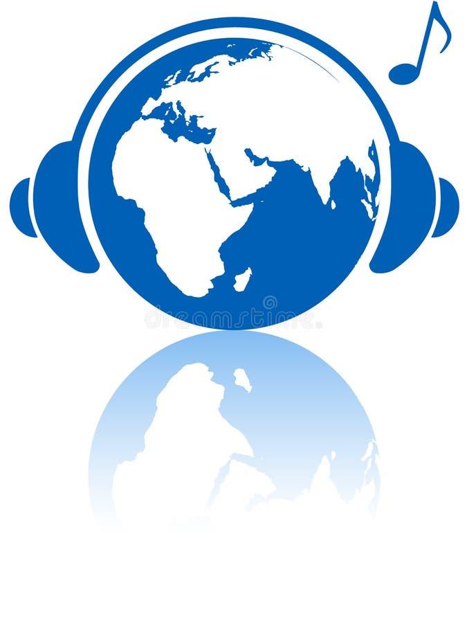 Hemisfério oriental dos auscultadores do mundo da música da terra ilustração stock
