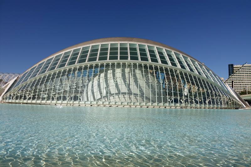 Hemisferic i stad av konster och vetenskaper i Valencia, Spanien royaltyfria foton