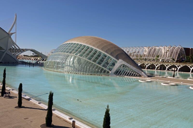 Hemisferic in stad van kunsten en wetenschappen in Valencia, Spanje royalty-vrije stock fotografie