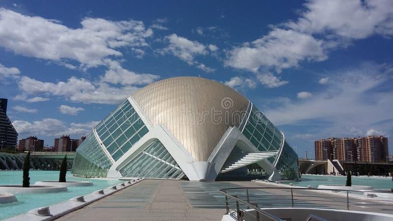 Hemisferic Valencia Spain futuristisk byggnad fotografering för bildbyråer