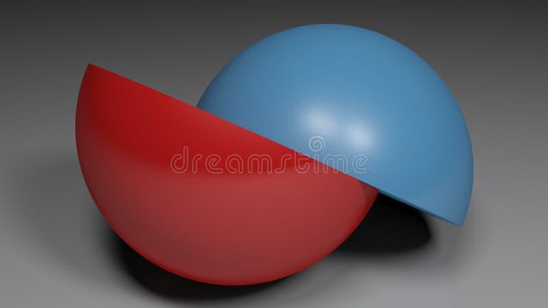 Hemisferios azules y rojos abstractos - ejemplo de la representación 3D stock de ilustración
