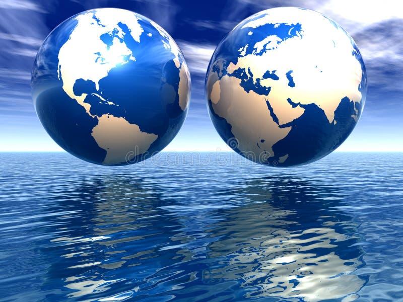 Hemisferios de la tierra ilustración del vector