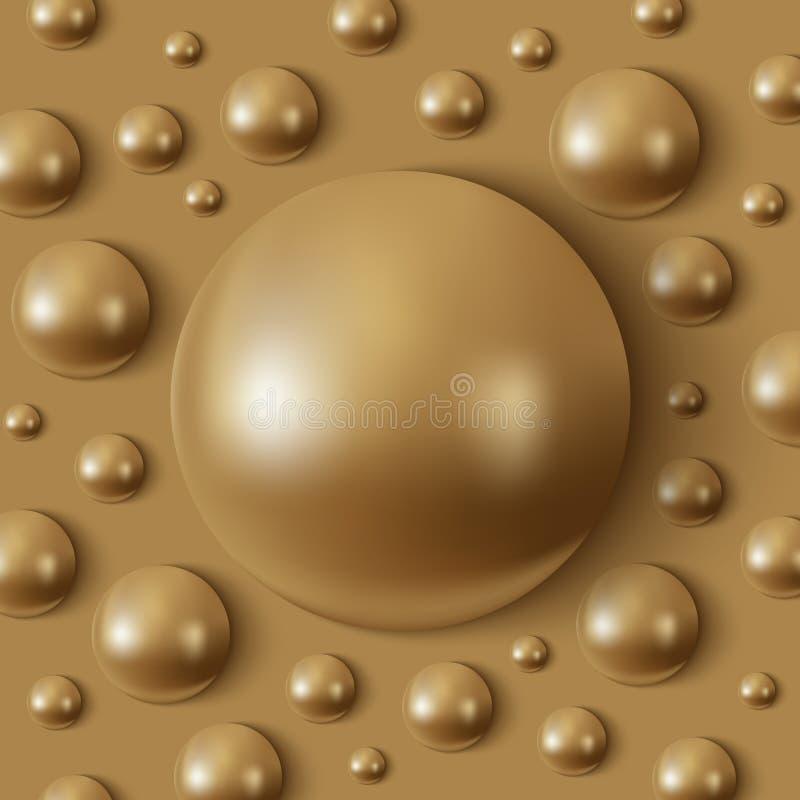 Hemisferios de oro realistas en la superficie stock de ilustración