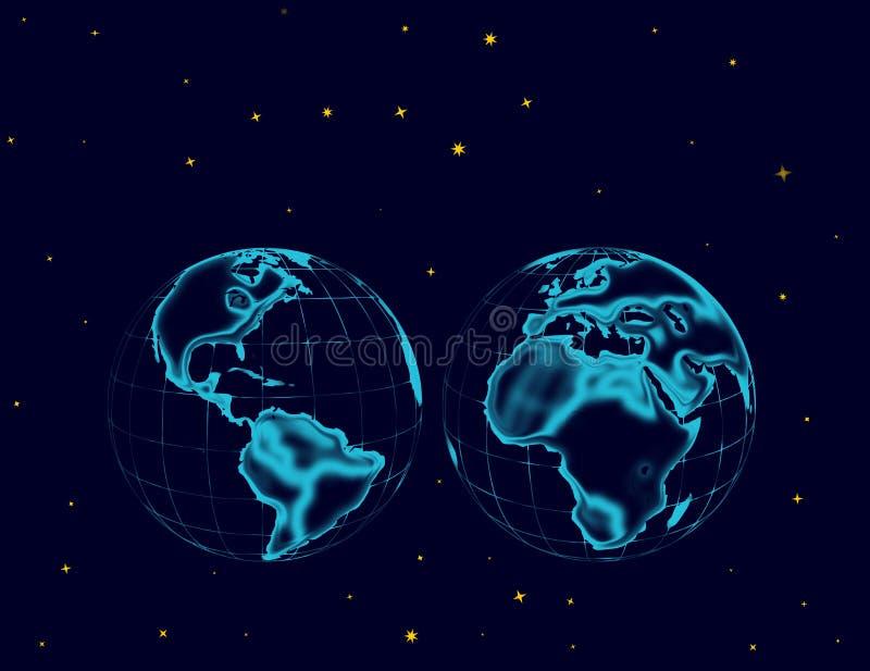 Hemisferios del globo y del espacio con las estrellas ilustración del vector