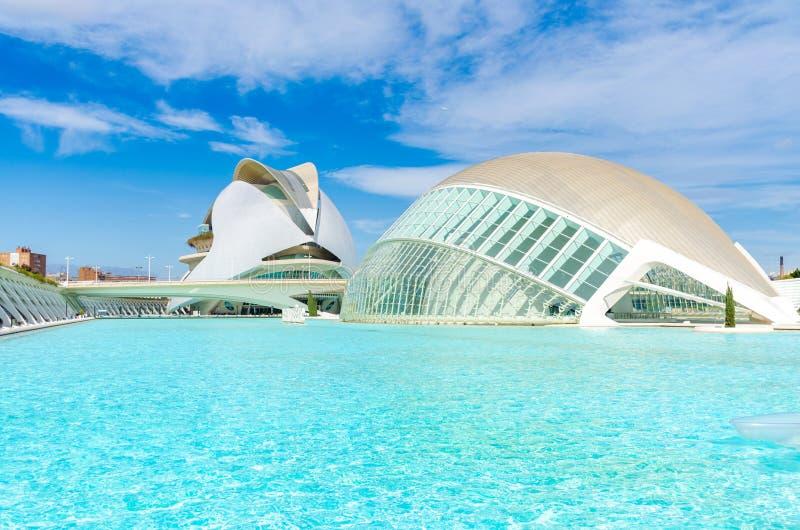 Hemisphäisches Gebäude in der Stadt der Künste und Wissenschaften in Valencia Spanien lizenzfreie stockfotos