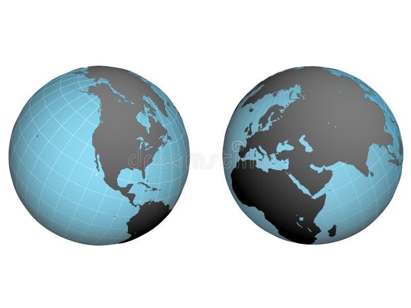 Hemispheres of earth stock illustration
