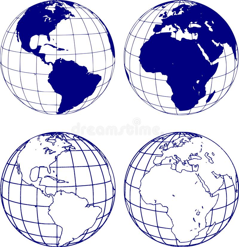 Hemispheres of the planet earth, eastern and western royalty free illustration